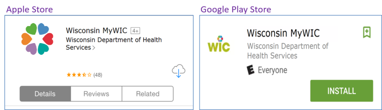 Pictures showing how the MyWic app looks on the Apple Store and Google Play Store