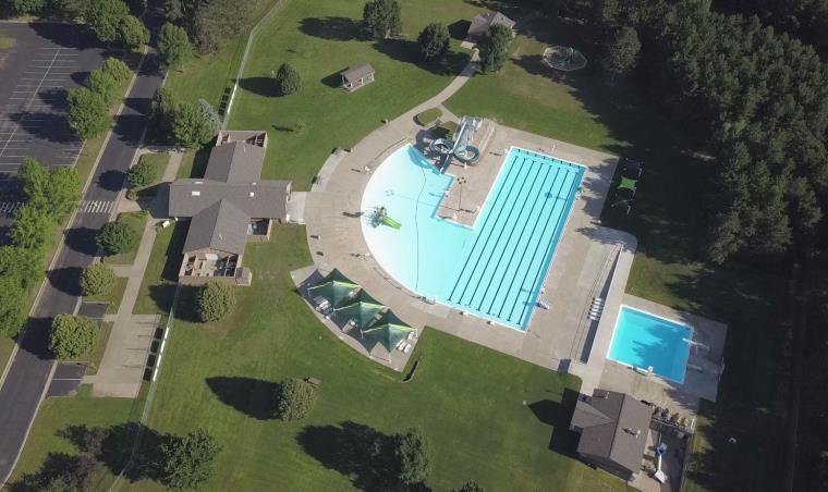 Drone aerial photo of Fairfax Pool and park.