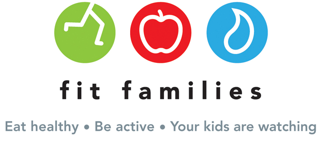 Fit Families Logo is 3 circular icons, first is green with white running legs, second is red with a white apple outline, third is blue with drop of water with white outline