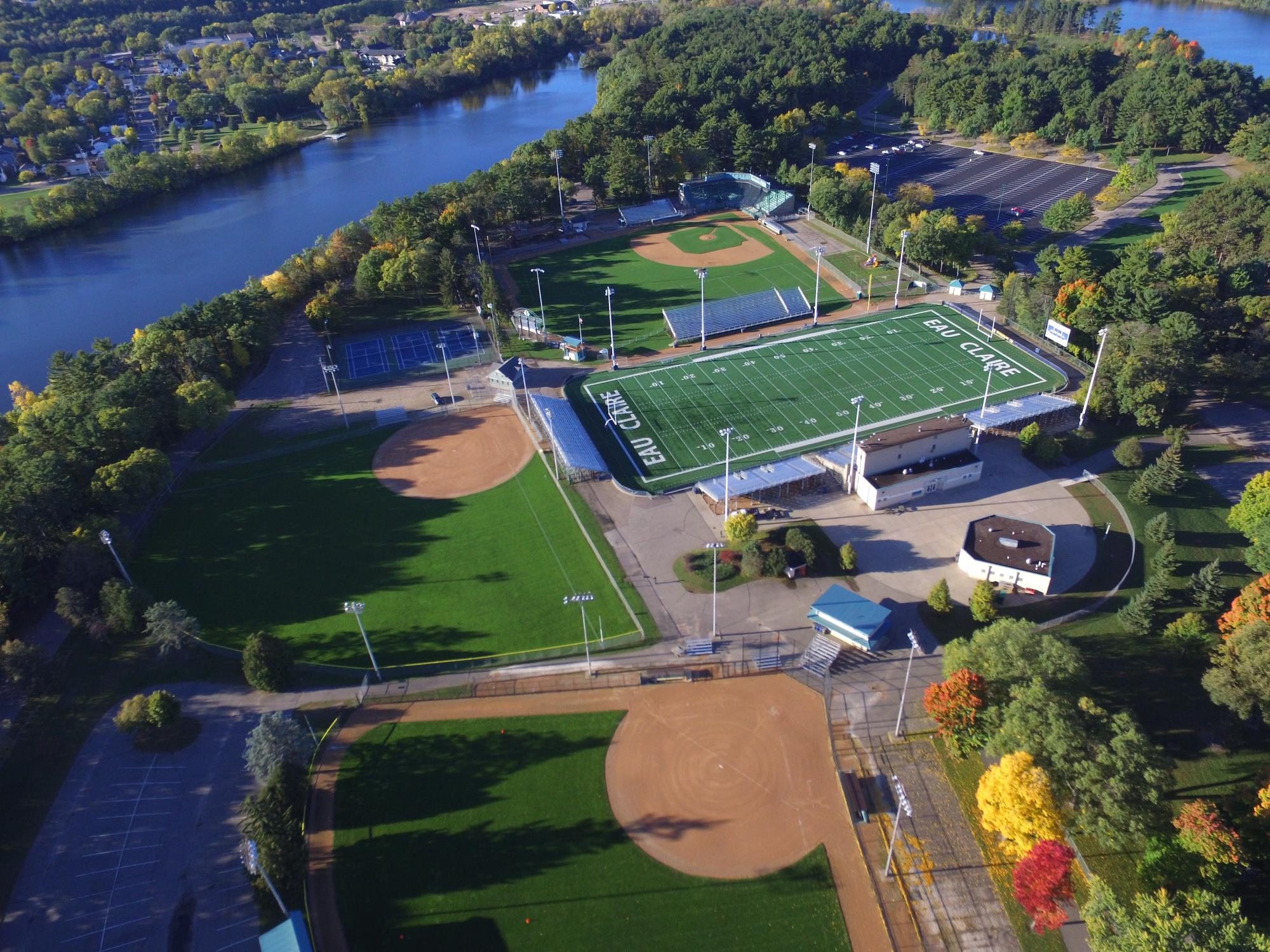 Aerial of Carson Park football and baseball fields