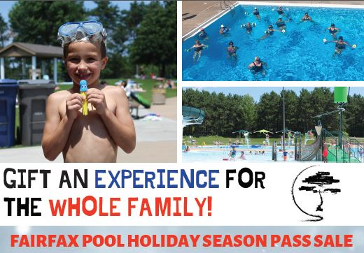 "Sale flier with pictures of people swimming and text, ""Gift an Experience for Whole Family!  Fairfax Holiday Season Pass Sale."""